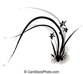 quadro, chinês, orquídea