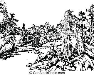 quadro, chinês, paisagem