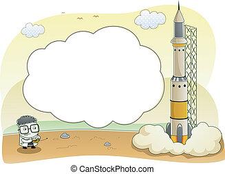 quadro, cientista, foguete, fundo, lançamento