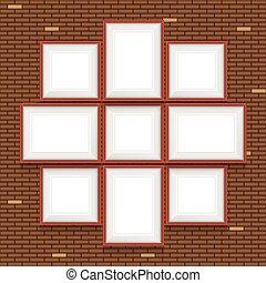 quadro, colagem, set., wall., vetorial, bordas, tijolo