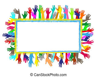 quadro, colorido, mãos