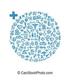 quadro, com, ícones médicos, para, seu, desenho