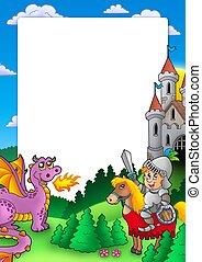 quadro, com, cavaleiro, e, dragão