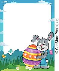 quadro, com, coelhinho, segurando, grande, ovo páscoa