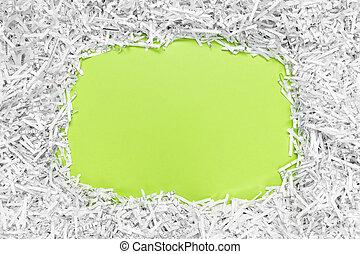 quadro, com, espaço cópia, feito, de, reciclado, papel shredded