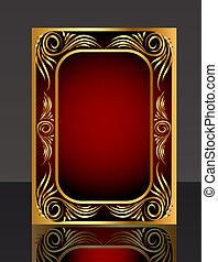 quadro, com, gold(en), padrão, e, reflexão