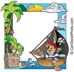 quadro, com, mar, e, pirata, tema, 5