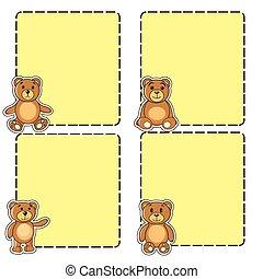 quadro, com, ursos, em, a, vetorial