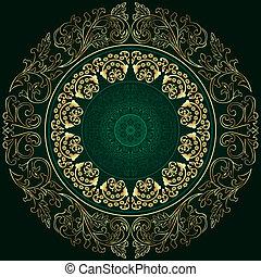 quadro, com, vindima, padrões florais