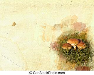 quadro, conceito, grunge, fundo, cogumelo