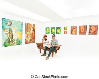 quadro, contemporâneo, exibição