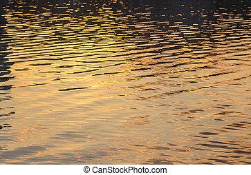 quadro, de, a, superfície, água, em, pôr do sol