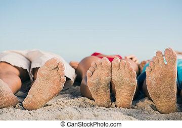 quadro, de, amigos, pés, mentindo, junto