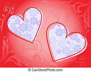 quadro, de, dois corações