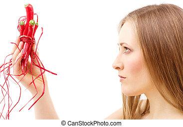 quadro, de, encantador, mulher, com, pimentão quente, pimentas