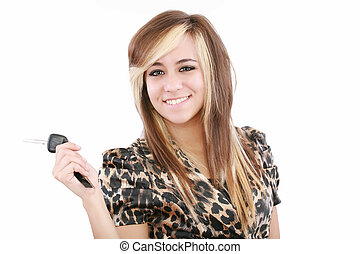 quadro, de, feliz, menina adolescente, com, tecla carro
