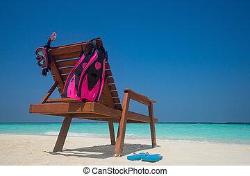 quadro, de, lounger praia, ligado, a, praia tropical, vacation., viajante, sonhos, conceito