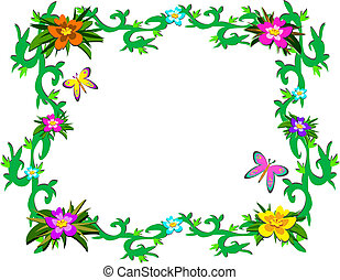 quadro, de, luxuriante, tropicais, plantas, e, b