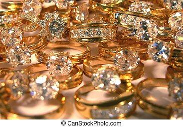 quadro, de, muito, de, anéis, com, grande, diamantes