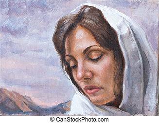 quadro, de, mulher jovem