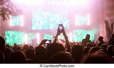 quadro, de, partido, pessoas, ligado, música, festival