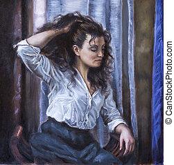 quadro, de, um, mulher jovem, com, dela, mão, em, dela, cabelo