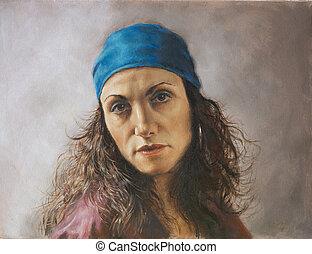 quadro, de, um, mulher jovem