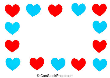 quadro, de, vermelho, azul, papel, corações, com, espaço cópia