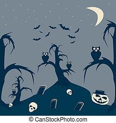 quadro, dia das bruxas, caricatura, noturna