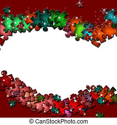 quadro, elementos, quebra-cabeça, coloridos