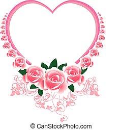 quadro, em, a, estilo vitoriano, com, rosas, e, borboletas