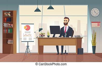 quadro, escritório, sentando, escritório., diretor, vetorial, homem negócios, interior, tabela, caricatura