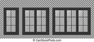 quadro, escuro, janela