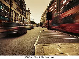 quadro, espantoso, tráfego, apresentando, urbano