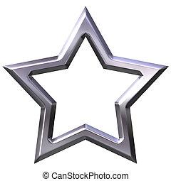 quadro, estrela, prata, 3d