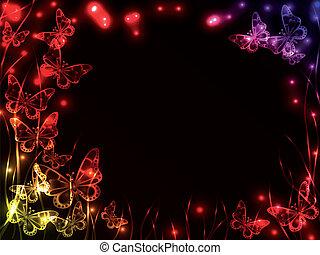 quadro, feito, plasma, borboletas