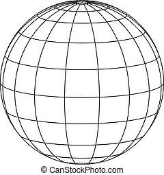 quadro, fio, globo