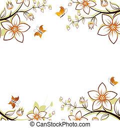 quadro, flor, árvore