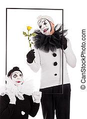 quadro, flor, palhaços, dois