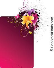 quadro, flores, grunge