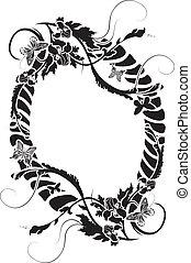 quadro, flores, ornate