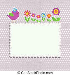 quadro, flores, pássaro