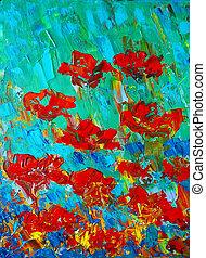 quadro, flowers., arte, original, vermelho