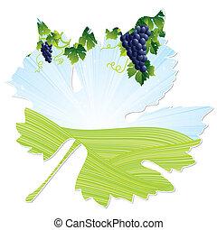 quadro, folha, vinho