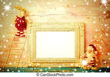 quadro fotografia, alegre, vazio, cartão natal