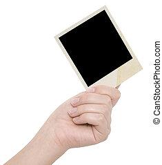 quadro fotografia, em, um, mão
