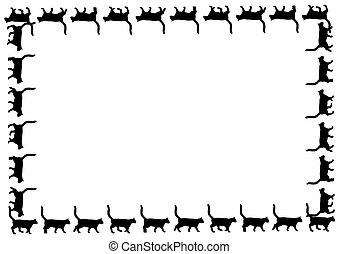 quadro, gatos, pretas