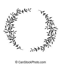 quadro, grinalda, mão, floral, fundo, oval, desenhado, branca