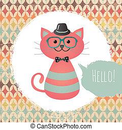 quadro, ilustração, gato, hipster, textured, desenho