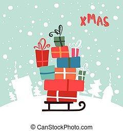 quadro, ilustração, presentes, sled., ano, novo, natal, feliz